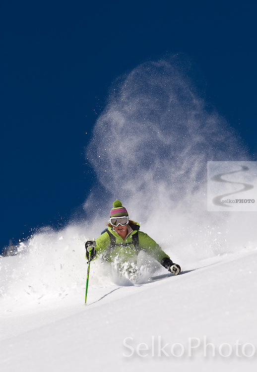 A blue sky powder skiing morning on Teton Pass on April 7, 2010.
