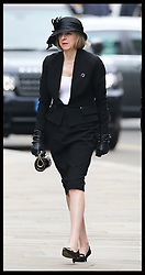 Theresa May arriving at Baroness Thatcher's funeral at St.Paul's Cathedral in London Wednesday 17th  April 2013 Photo by: Stephen Lock / i-Images