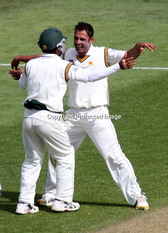 Abdur Rehman celebrates the wicket of James Franklin  on day 1 of the 2nd test at the Basin Reserve in Wellington, New Zealand v Pakistan, 15th January 2011.<br /> PHOTO: Grant Down / photosport.co.nz