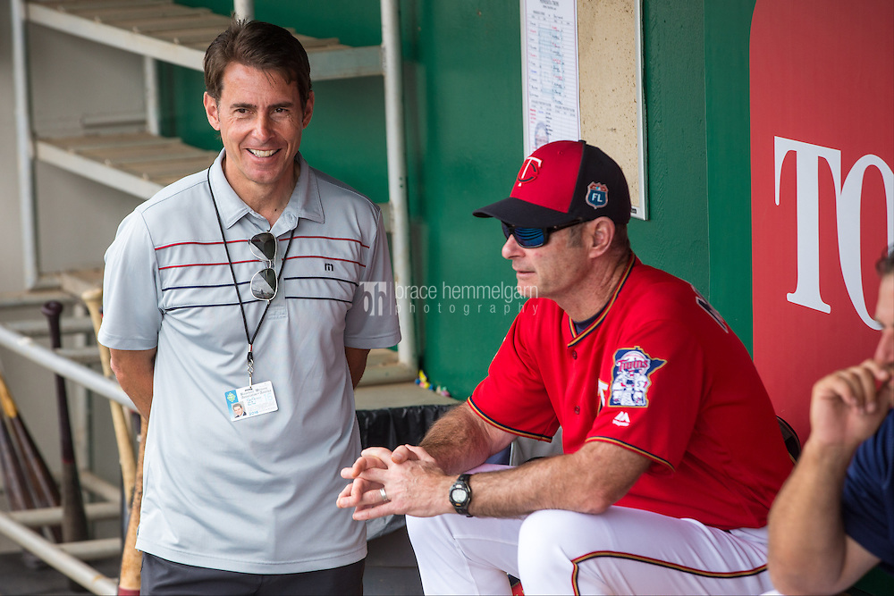 FORT MYERS, FL- MARCH 05: Sports writer Tom Verducci talks with Paul Molitor #4 of the Minnesota Twins against the Baltimore Orioles during a spring training game on March 5, 2016 at Hammond Stadium in Fort Myers, Florida. (Photo by Brace Hemmelgarn) *** Local Caption *** Tom Verducci;Paul Molitor