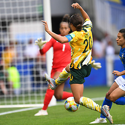 Sam Kerr of Austalia during the Women's World Cup match between Australia and Brazil at Stade de la Mosson on June 13, 2019 in Montpellier, France. (Photo by Alexandre Dimou/Icon Sport)
