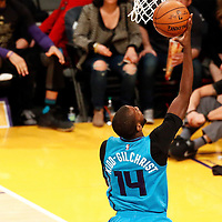 28 February 2017: Charlotte Hornets forward Michael Kidd-Gilchrist (14) goes for the layup during the Charlotte Hornets 109-104 victory over the LA Lakers, at the Staples Center, Los Angeles, California, USA.