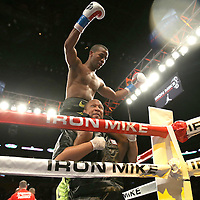 "Rances ""Kid Blast"" Barthelemy celebrates his victory over Argenis Mendez during the ""Judgement Day"" boxing event at American Airlines Arena on Thursday, July 10, 2014 in Miami, Florida.  Barthelemy won the fight after 12 rounds. (AP Photo/Alex Menendez)"