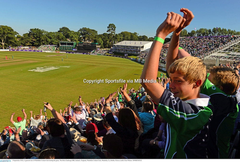 3 September 2013; A general view during the game. The RSA Challenge ODI, Ireland v England, Malahide Cricket Club, Malahide, Co. Dublin. Picture credit: Paul Mohan / SPORTSFILE
