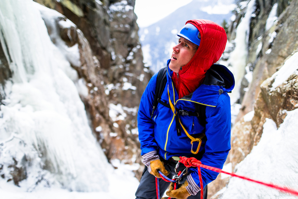 Amc Ice Climbing student belaying his leader on the second pitch of Green Mile on Mount Webster