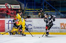 06.01.2019, Ice Rink, Znojmo, CZE, EBEL, HC Orli Znojmo vs Vienna Capitals, 36. Runde, im Bild v.l. Riley Holzapfel (Vienna Capitals) Michal Kruckovych (HC Orli Znojmo) Peter Schneider (Vienna Capitals) Jakub Stehlik (HC Orli Znojmo) // during the Erste Bank Eishockey League 36th round match between HC Orli Znojmo and Vienna Capitals at the Ice Rink in Znojmo, Czechia on 2019/01/06. EXPA Pictures © 2019, PhotoCredit: EXPA/ Rostislav Pfeffer