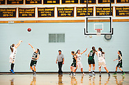 Essex's Kylie Acker (50) takes a three point shot during the girls basketball game between the St. Johnsbury Hilltoppers and the Essex Hornets at Essex high school on Tuesday night January 5, 2016 in Essex. (BRIAN JENKINS/for the FREE PRESS)