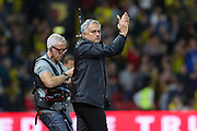 Manchester United Manager Jose Mourinho applauds the fans after victory during the Premier League match between Watford and Manchester United at Vicarage Road, Watford, England on 15 September 2018.