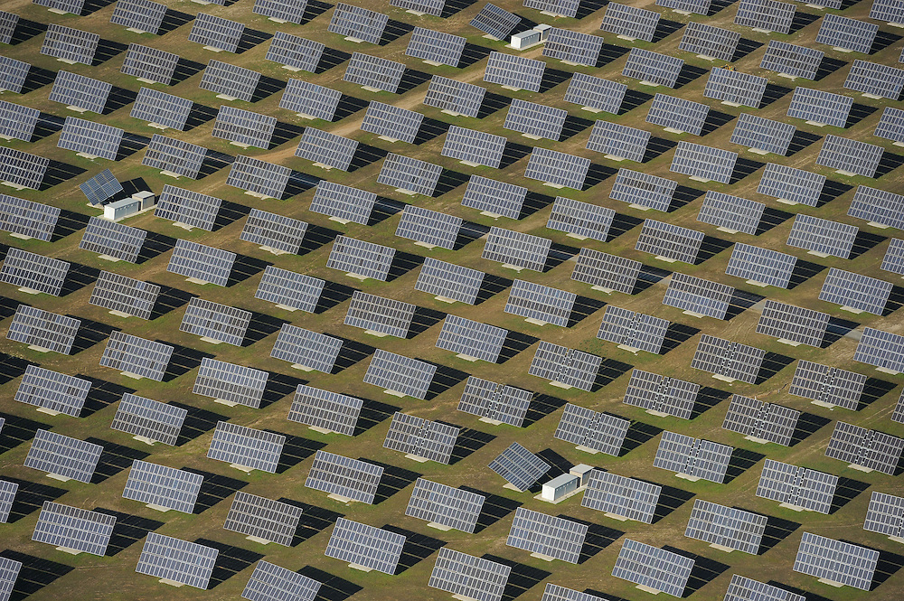 Aerial image.solar energy power station Salamanca Region, Castilla y León, Spain