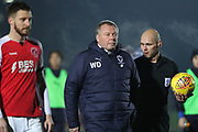 AFC Wimbledon manager Wally Downes walking off the pitch during the EFL Sky Bet League 1 match between AFC Wimbledon and Fleetwood Town at the Cherry Red Records Stadium, Kingston, England on 22 January 2019.