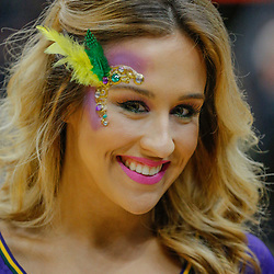 Feb 7, 2018; New Orleans, LA, USA; A New Orleans Pelicans dance team member poses for a portrait before a game between the New Orleans Pelicans and the Indiana Pacers was postponed after a nearly two hour delay due to a roof leak at the Smoothie King Center. Mandatory Credit: Derick E. Hingle-USA TODAY Sports