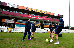 New Zealand Women entertain themselves with a game of football as rain delays the start of their game against South Africa Women at Derby - Mandatory by-line: Robbie Stephenson/JMP - 28/06/2017 - CRICKET - County Ground - Derby, United Kingdom - South Africa Women v New Zealand Women - ICC Women's World Cup Match 6