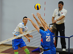 Alen Sket of Slovenia vs Srecko Lisinac of Serbia and Nikola Jovovic of Serbia during friendly volleyball match between National teams of Serbia and Slovenia, on August 18, 2017, in Belgrade, Serbia. Photo by Nebojsa Parausic / MN press / Sportida