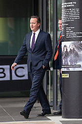© Licensed to London News Pictures . 04/10/2015 . Manchester , UK . British Prime Minister DAVID CAMERON leaves after appearing on the Marr Show at the BBC at Media City in Salford . Photo credit: Joel Goodman/LNP