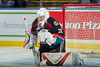 KELOWNA, CANADA - SEPTEMBER 22: Brodan Salmond #31 of the Kelowna Rockets warms up in net against the Kamloops Blazers on September 22, 2017 at Prospera Place in Kelowna, British Columbia, Canada.  (Photo by Marissa Baecker/Shoot the Breeze)  *** Local Caption ***