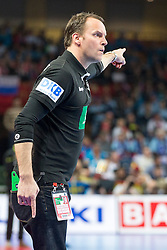 16.01.2016, Hala Stulecia, Breslau, POL, EHF Euro 2016, Spanien vs Deutschland, Gruppe C, im Bild Dagur Valdimar Sigurdsson (Trainer) // during the 2016 EHF Euro group C match between Spain and Germany at the Hala Stulecia in Breslau, Poland on 2016/01/16. EXPA Pictures © 2016, PhotoCredit: EXPA/ Eibner-Pressefoto/ Koenig<br /> <br /> *****ATTENTION - OUT of GER*****
