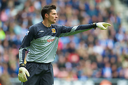 WIGAN, ENGLAND - Monday, May 3, 2010: Hull City's goalkeeper Matt Duke in action against Wigan Athletic during the Premiership match at DW Stadium. (Photo by David Rawcliffe/Propaganda)