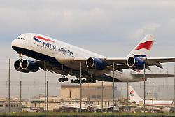 A British Airways Airbus A380 takes off at London's Heathrow Airport (LHR / EGLL).