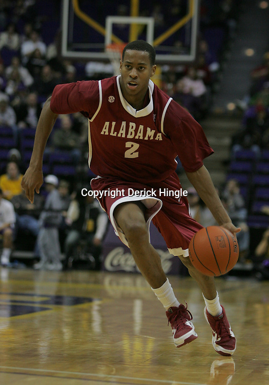 Jan 09, 2010; Baton Rouge, LA, USA; Alabama Crimson Tide guard Mikhail Torrance (2) drives with the ball against the LSU Tigers during the second half at the Pete Maravich Assembly Center. Alabama defeated LSU 66-49.  Mandatory Credit: Derick E. Hingle-US PRESSWIRE