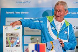 Lojze Mikolic, coach of Rajmond Debevec, during reception of Slovenian Olympic team, on August 7, 2012 in Airport Joze Pucnik, Brnik, Slovenia.  (Photo by Matic Klansek Velej / Sportida)