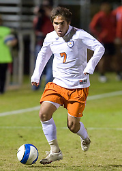 Virginia Cavaliers midfielder/forward Neil Barlow (7) in action against UMD.  The Virginia Cavaliers fell to the Maryland Terrapins 2-1 in NCAA Soccer at Klockner Stadium on the Grounds of the University of Virginia in Charlottesville, VA on October 31, 2008.