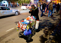 TBILSI, GEORGIA - Friday, October 6, 2017: A street vendor before the 2018 FIFA World Cup Qualifying Group D match between Georgia and Wales at the Boris Paichadze Dinamo Arena. (Pic by David Rawcliffe/Propaganda)