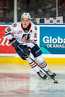 KELOWNA, BC - NOVEMBER 16:  Connor Zary #18 of the Kamloops Blazers warms up with the puck against the Kelowna Rockets at Prospera Place on November 16, 2019 in Kelowna, Canada. (Photo by Marissa Baecker/Shoot the Breeze)