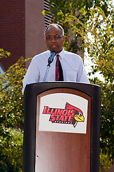 19 September 2009: Will Robinson Jr. takes the podium to make a statement as he accepts the honor in remembrance of his late father who passed away in 2008.  Illinois State University took the day to celebrate 2 of it's own, the late Will Robinson and national hero Doug Collins.  Will Robinson became the first black head basketball coach in NCAA Division I history when names ISU basketball coach in 1970.  Doug Collins was an Illinois State standout basketball player who represented the United States in the 1972 Olympics, played NBA ball for several years where he later coached and recently recieved the Curt Gowdy Media Award for career in broadcasting.  A statue was erected in their honor on the terrace just north of the main entrance to Redbird Arena on ISU's campus in Normal IL