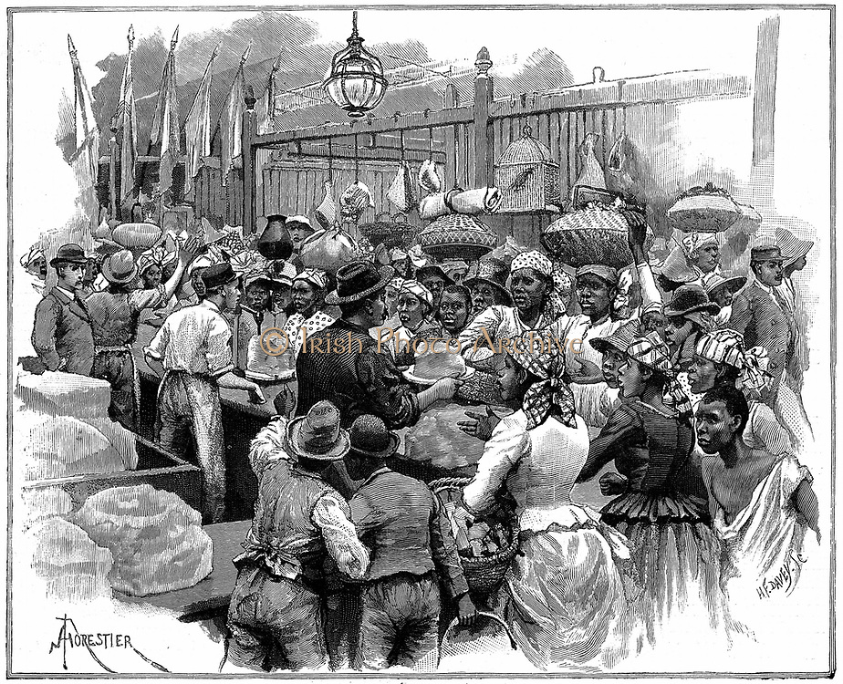 Ice stall in the market, Georgetown, Demerara, Guyana (British Guyana) Wood engraving 1888