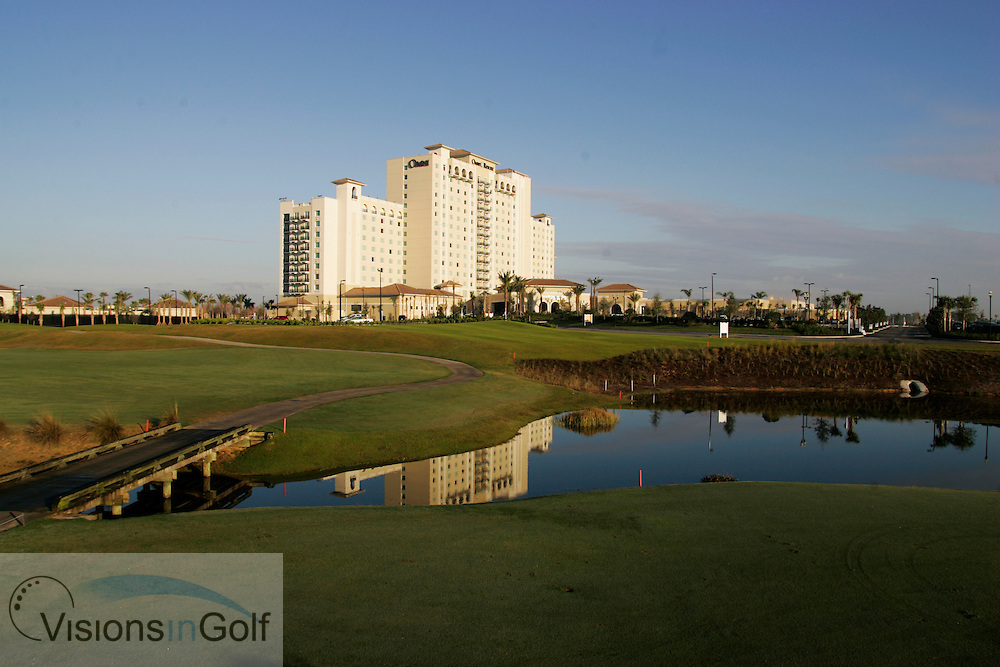 The 7th fairway and the Omni Orlando Resort Hotel at The International Course, Champions Gate, Florida USA. Designed by Greg Norman<br /> Photo Mark Newcombe