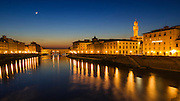 The Arno River and Ponte Vecchio at night, Florence, Tuscany, Italy