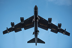 A U.S. Air Force B-52H Stratofortress, assigned to the 20th Expeditionary Bomb Squadron, deployed from Barksdale Air Force Base, La., approaches the flightline at Royal Australian Air Force Base Darwin, Australia, April 6, 2018. Two U.S. Air Force bombers visited the base in Australia's Northern Territory to support the U.S. Pacific Command's Enhanced Air Cooperation initiative in cooperation with RAAF joint terminal attack controller teams. The EAC comprises a range of air exercises and training activities designed to enhance regional cooperation, coordination and interoperability between Australian and U.S. service members. (U.S. Air Force photo by Staff Sgt. Alexander W. Riedel)