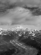 Aerial view of Denali (Mt. McKinley), the Tokositna Glacier and the Alaska Range on a sightseeing flight from Talkeetna, Alaska.