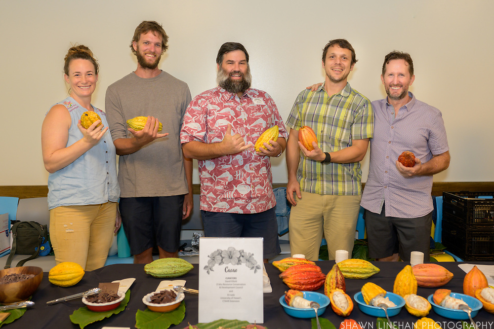 CACAO<br /> Curators: David Elliott, ORCD and Eli Isele, CTAHR Extension<br /> Taste the full range of cacao flavor, from freshly harvested fruit to meticulously-crafted dark chocolate. Dave and Eli share a flight of cacao fruit to taste in their fresh state - a unique experience that is utterly distinct from the flavor of chocolate. As a tasting counterpoint, a few of Hawaii's standout chocolate makers will highlight the terroir of Hawaii-grown cacao in a pure, final form as a high-percentage dark chocolates.<br /> Hawaii-grown cacao and chocolate has received a spate of international awards and d recognition in recent years for outstanding fine flavor. Unlike most commodities or specialty fruits (e.g. Hayden mango or Fuji apple), cacao in Hawaii and in most origins is produced in genetically- diverse orchards, planted with open-pollinated seedlings from selections made by farmers & other ag professionals. Hawaii-grown cacao consistently demonstrates a diverse blend of genetic material from distinct populations of cacao spread across the species' place of origin in the Amazon region of South America. Eli will share information on his research to trial 10 genotypes of cacao in a replicated trial, with the final aim of finding high yielding, disease resistant genotypes that meet Hawaii's high bar for fine flavor. Seven of the genotypes are local Hawaiian derived selections - with their own interesting histories.