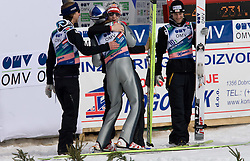 Team World Champions (from L) KOCH Martin, SCHLIERENZAUER Gregor, MORGENSTERN Thomas and LOITZL Wolfgang of winning team of Austria celebrate after Flying Hill Team Second Round at 4th day of FIS Ski Flying World Championships Planica 2010, on March 21, 2010, Planica, Slovenia.  (Photo by Vid Ponikvar / Sportida)
