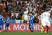 England Forward Wayne Rooney celebrates his early goal for England during the Round of 16 Euro 2016 match between England and Iceland at Stade de Nice, Nice, France on 27 June 2016. Photo by Andy Walter.