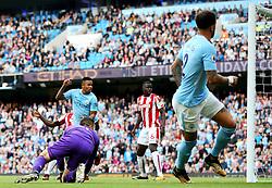Gabriel Jesus of Manchester City scores his sides first goal - Mandatory by-line: Matt McNulty/JMP - 14/10/2017 - FOOTBALL - Etihad Stadium - Manchester, England - Manchester City v Stoke City - Premier League