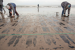 Art protest. David Faithfull led an Edinburgh Printmakers workshop to highlight climate change and pollution in our seas, with 20 artists screen printing images of plastic bottles on to Portobello beach in a mixture of squid and seaweed ink. The tide will then come in and wash the images away. © Jon Davey/ EEm
