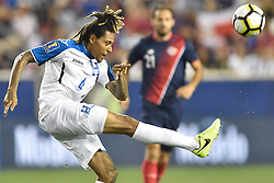 July 7, 2017 - Harrison, New Jersey, U.S - Honduras defender HENRY FIGUEROA (4) in action during CONCACAF Gold Cup 2017 at Red Bull Arena in Harrison New Jersey Costa Rica defeats Honduras 1 to 0. (Credit Image: © Brooks Von Arx via ZUMA Wire)