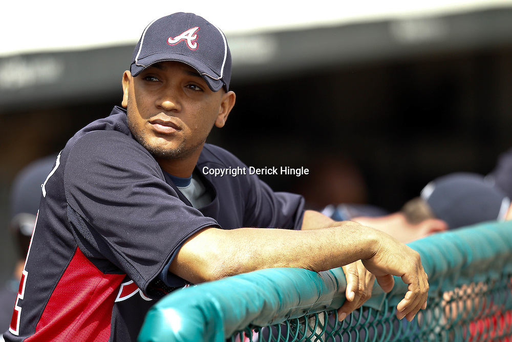 March 5, 2011; Lake Buena Vista, FL, USA; Atlanta Braves shortstop Diory Hernandez (24) before a spring training exhibition game against the New York Mets at Disney Wide World of Sports complex.  Mandatory Credit: Derick E. Hingle