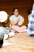 17 year old freshman Noelle Policastro a music therapy major at Ohio University at music therapy class.