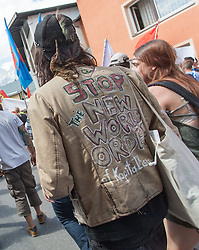 13.06.2015, Telfs, AUT, Demonstration gegen die Bilderbergkonferenz, im Bild ein Demonstrant // a protester during a demonstration agiainst the bilderberg group in Telfs, Austria on 2015/06/13. EXPA Pictures © 2015, PhotoCredit: EXPA/ Jakob Gruber