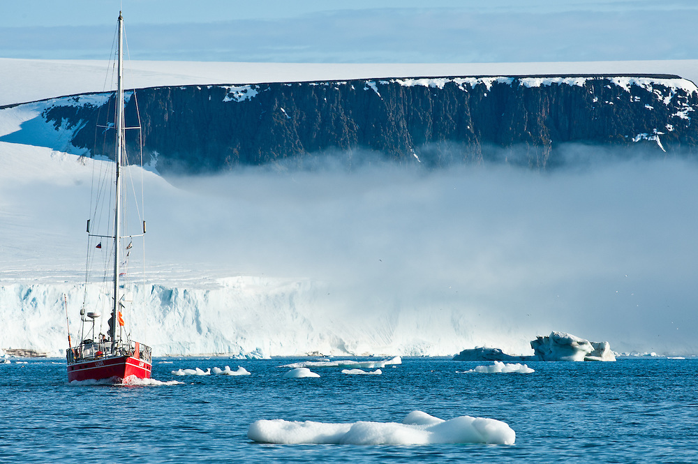 Luna, a German sailing vessel, makes her way through the British Channel in Franz Josef Land, Russian Arctic.