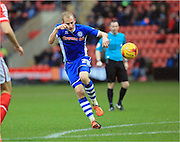 David Syers shoots during the Sky Bet League 1 match between Crewe Alexandra and Rochdale at Alexandra Stadium, Crewe, England on 6 February 2016. Photo by Daniel Youngs.