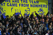 AFC Wimbledon fans celebrating during the The FA Cup match between AFC Wimbledon and West Ham United at the Cherry Red Records Stadium, Kingston, England on 26 January 2019.