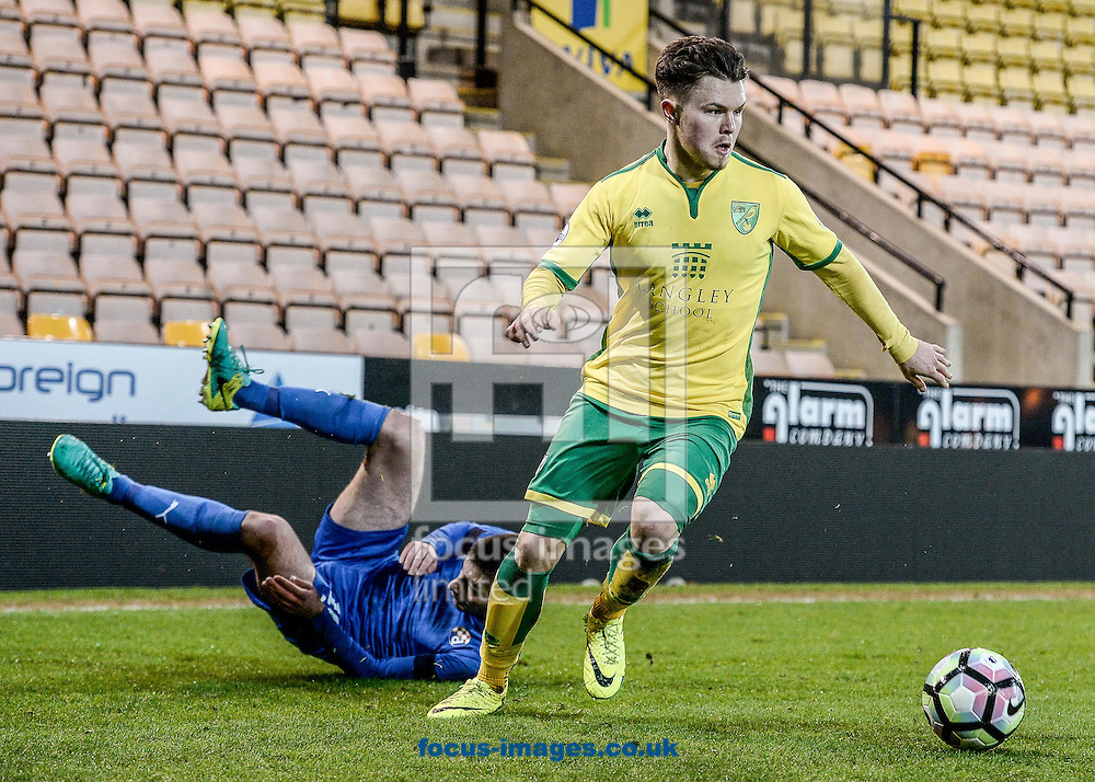 Glenn Middleton of Norwich City U23 versus Dinamo Zagreb U23 during the Premier League International Cup Quarter-Final match at Carrow Road, Norwich<br /> Picture by Matthew Usher/Focus Images Ltd +44 7902 242054<br /> 27/02/2017