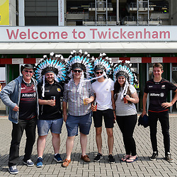 Exeter Chiefs and Saracens fans pose for a photo during the Aviva Premiership Final match between Exeter Chiefs and Saracens at Twickenham Stadium on May 26, 2018 in London, England. (Photo by Alex Davidson)