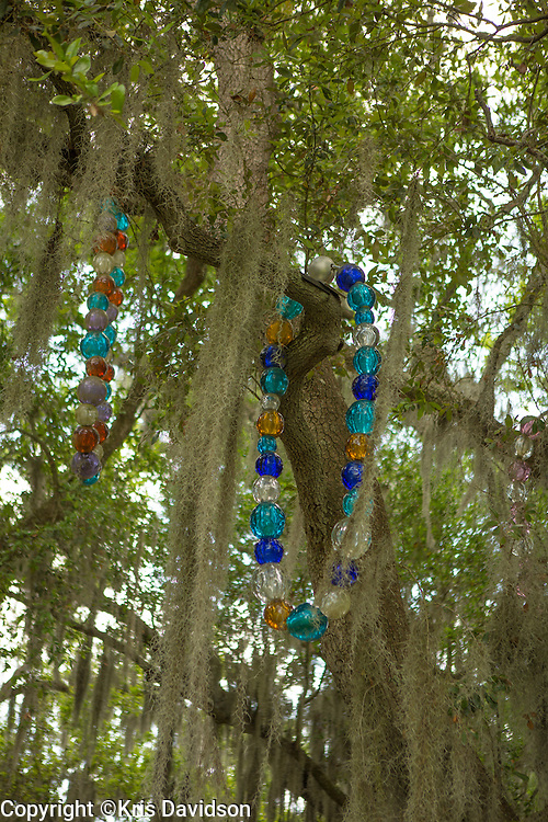 Mardi Gras beads installation in the sculpture garden at the New Orleans Museum of Art.