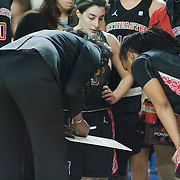 Northeastern Head Coach Daynia La-Force coaching her players during a time out in the Northeastern huddle in first half of an NCAA college basketball game against Delaware Sunday, Feb. 26, 2012 at the Bob Carpenter Center in Newark, Del.