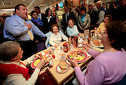 New Jersey Governor Chris Christie tells a large table of ladies if they want to help keep his blood pressure low, they should vote for the District 18 candidates he supports.  He greeted folks eating breakfast during a diner stop at the Edison Diner.
